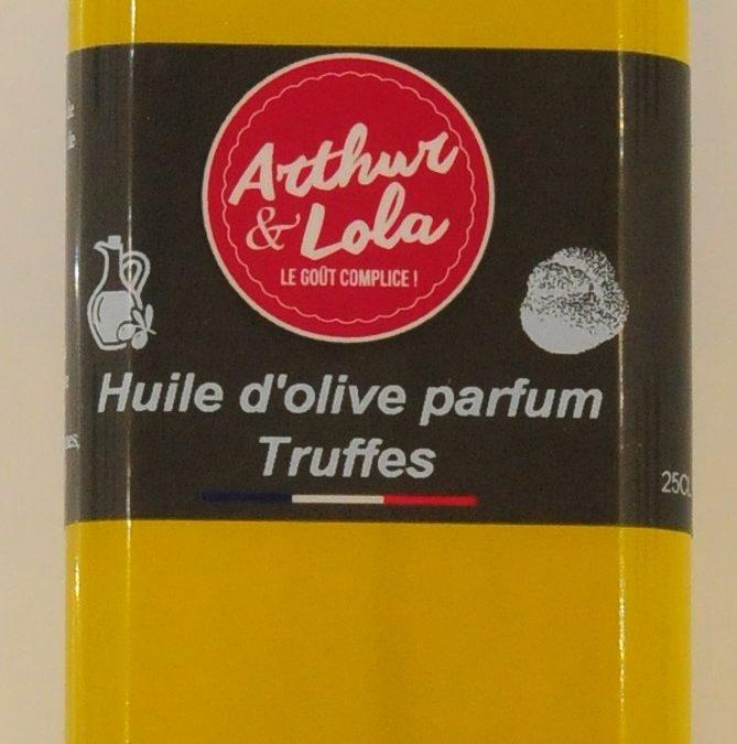 Huile d'olive parfum truffes bouteille RONDE bouchon argent